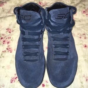 Under Armour Curry 1 Lux Mid Suede Blue/Black Shoe